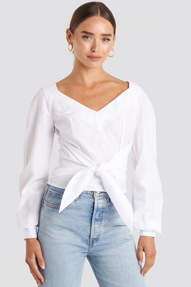 White Tied Waist Puff Sleeve Blouse