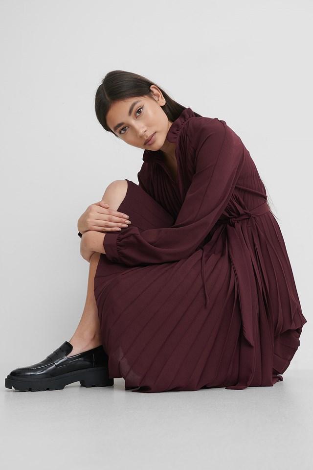 Tied Waist Pleated Skirt Dress Burgundy