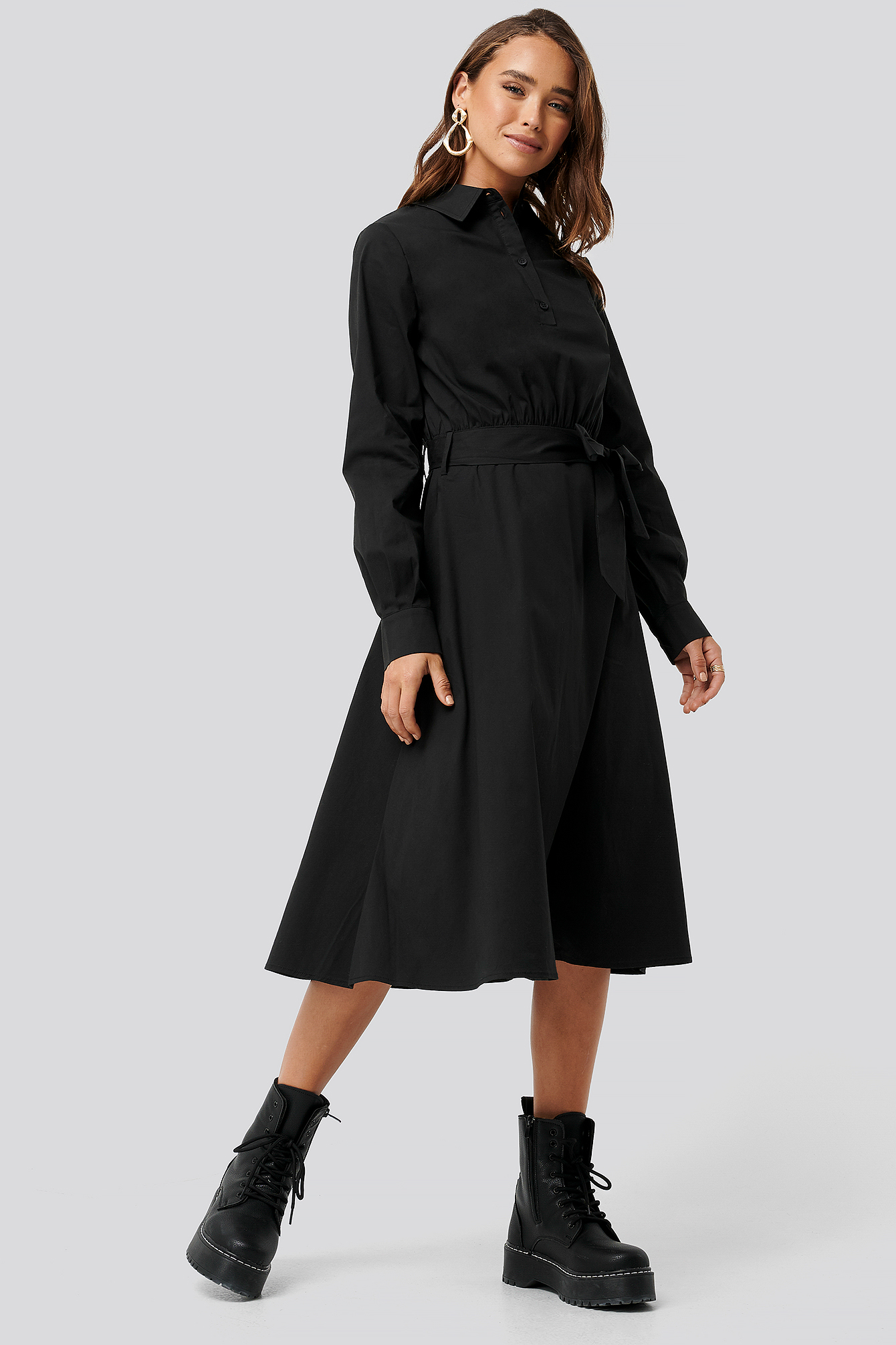 Black Tied Waist Shirt Dress