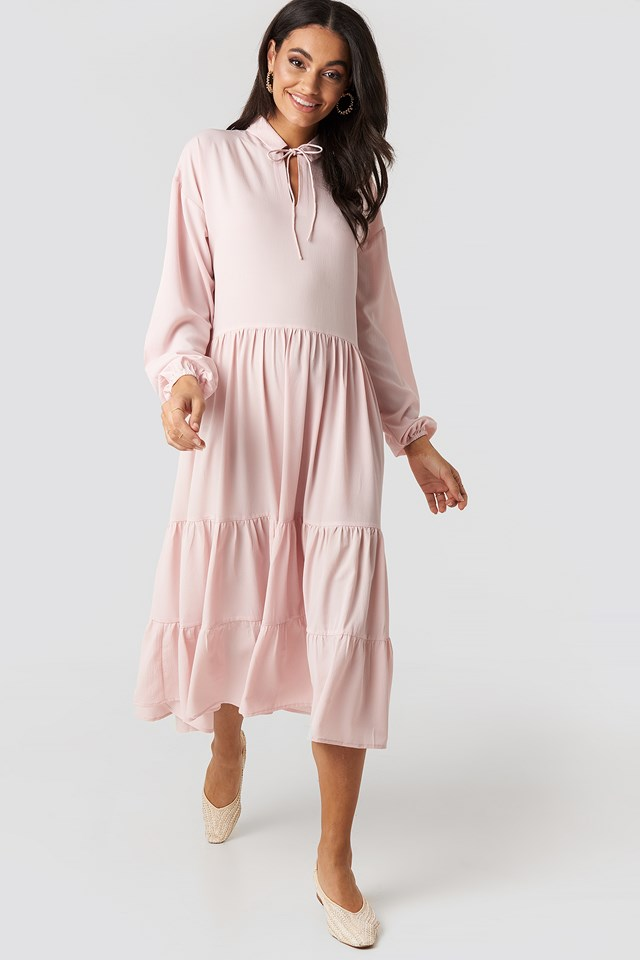 Dusty Pink Tiered Detail Balloon Sleeve Dress