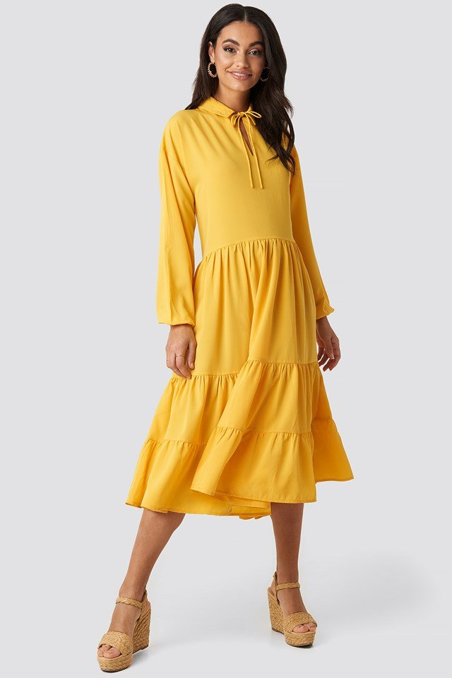 Citrus Tiered Detail Balloon Sleeve Dress
