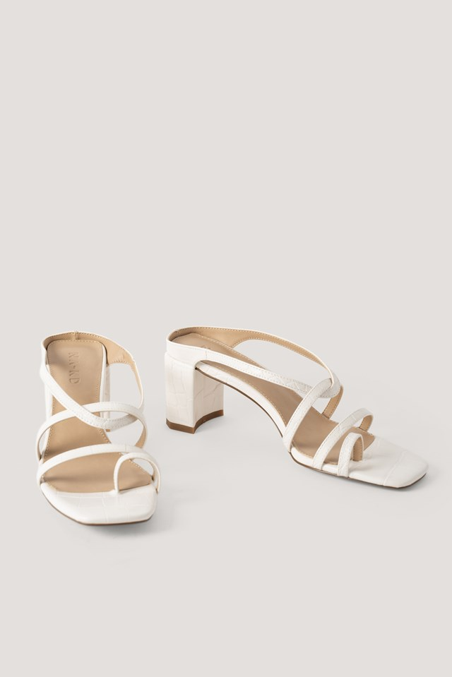 Toe Ring Strappy Block Heels Offwhite