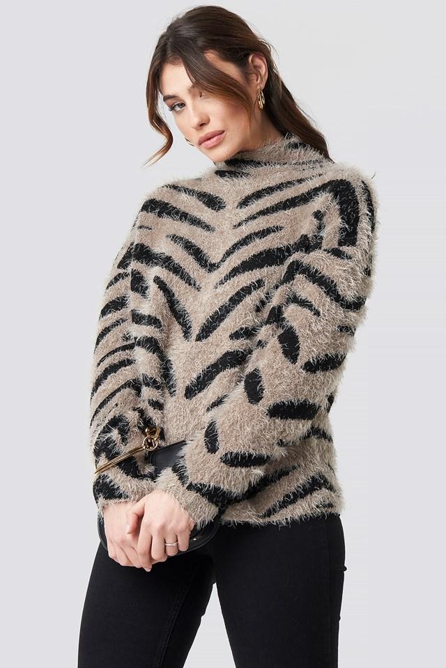 Hairy Zebra Knitted Sweater beige/Black