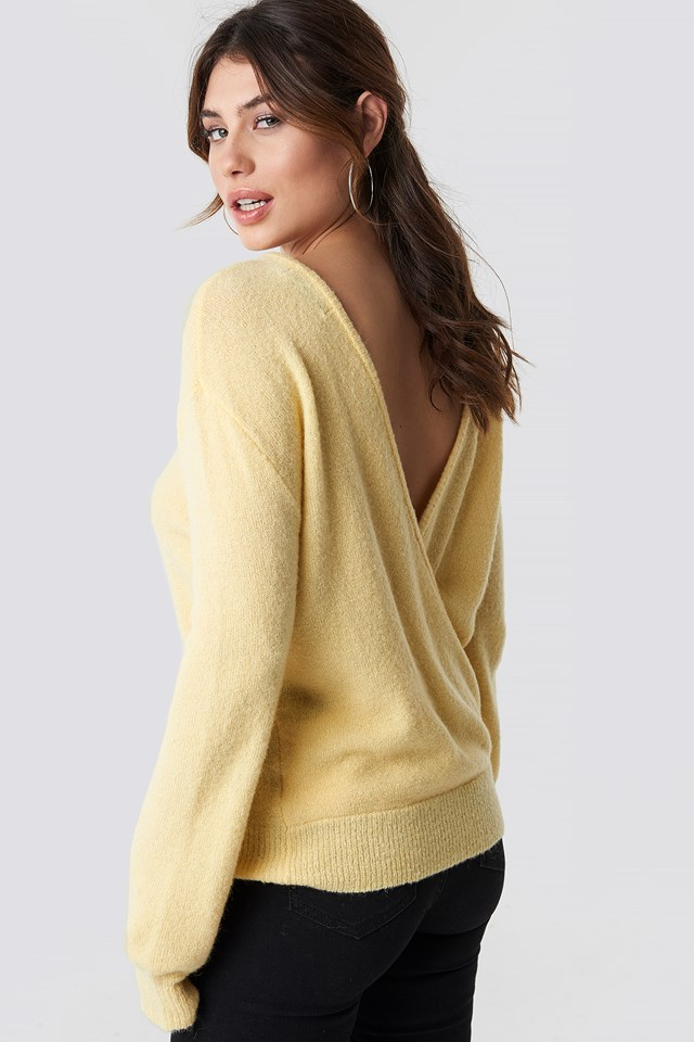V-Neck Back Overlap Knitted Sweater Light Yellow