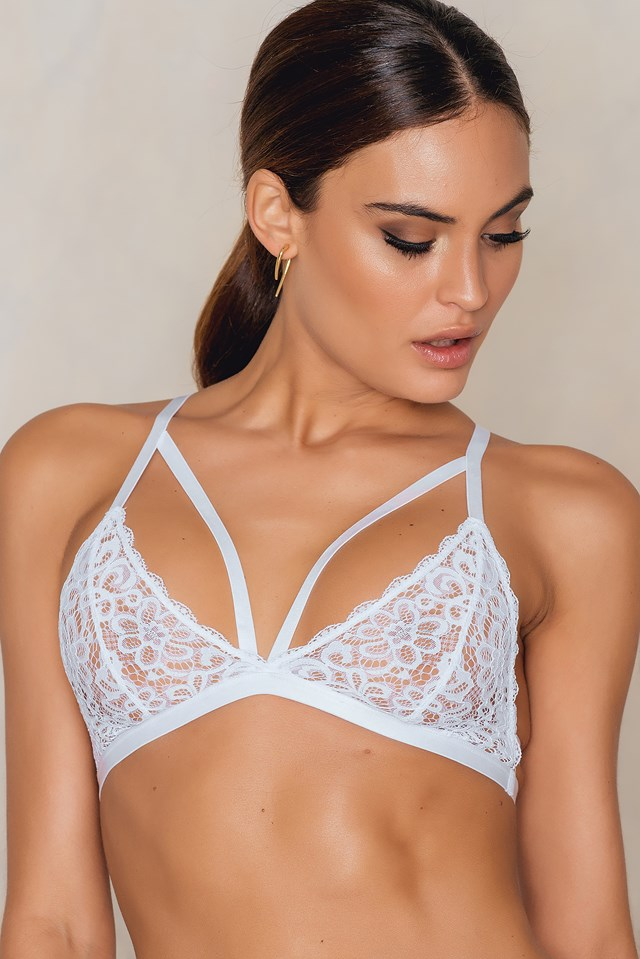 Triangle Back Strappy Bra White