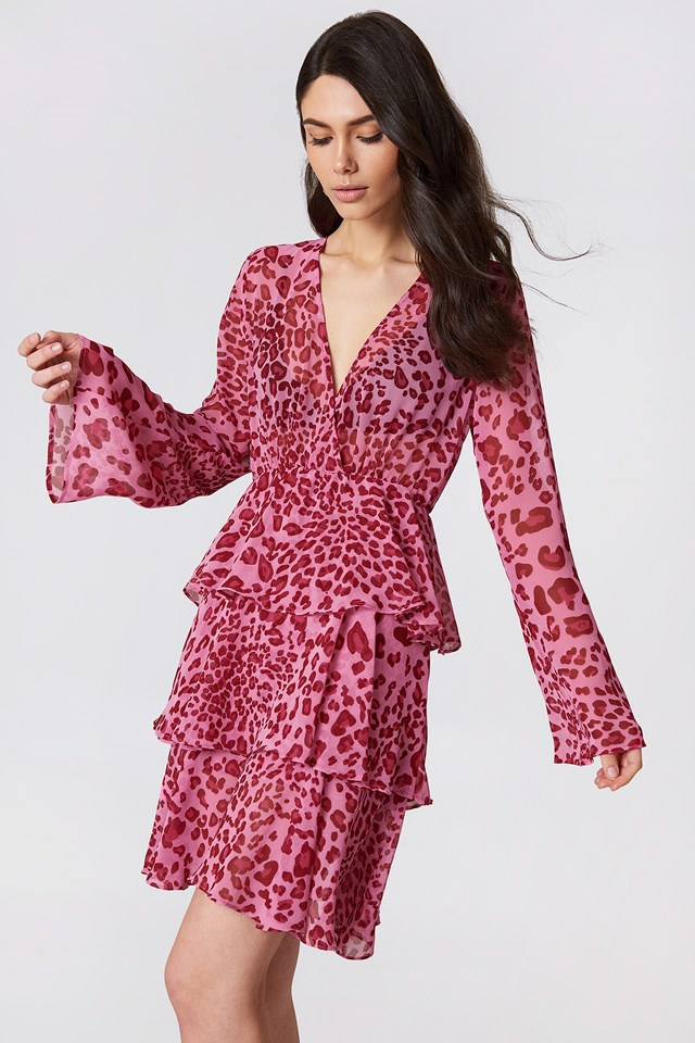 Triple Layer LS Flounce Dress Pink Leo