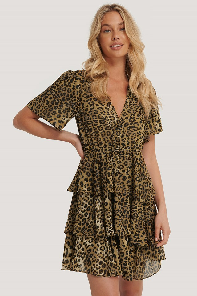 Triple Layer Flounce Dress Leopard
