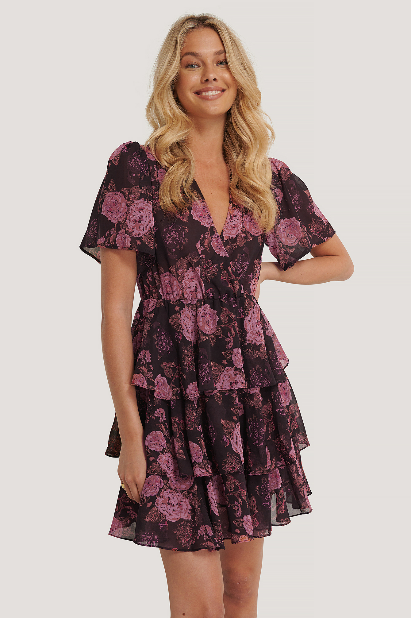 Brown/Pink Flowers Triple Layer Flounce Dress