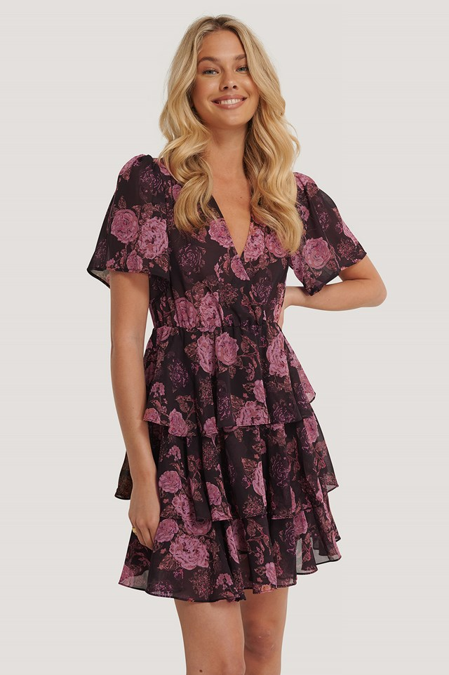 Brown/Pink Flowers Triple Layer Flounce Dress