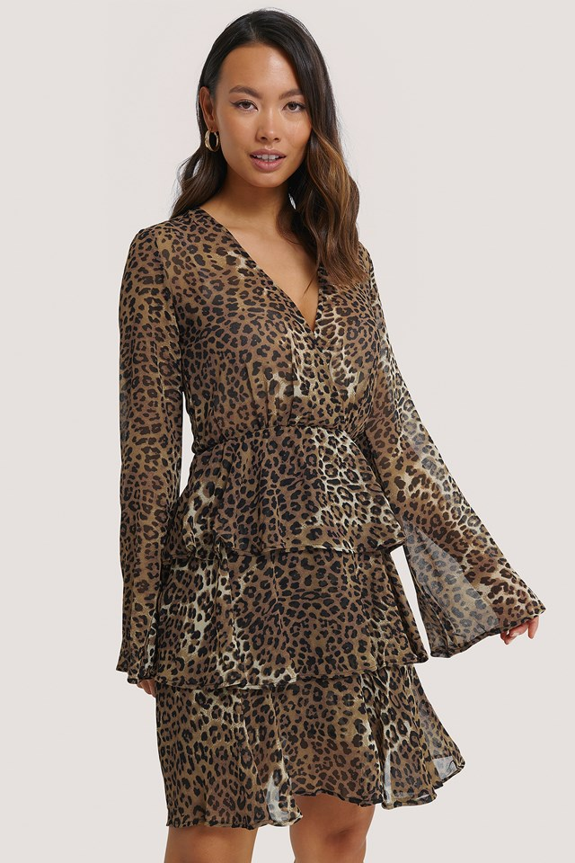Leoprint Triple Layer LS Flounce Dress
