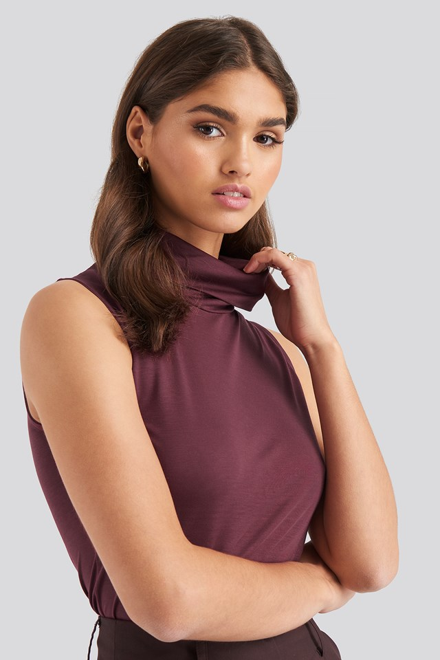 Turtle Neck Sleeveless Ribbed Jersey Top Bordo