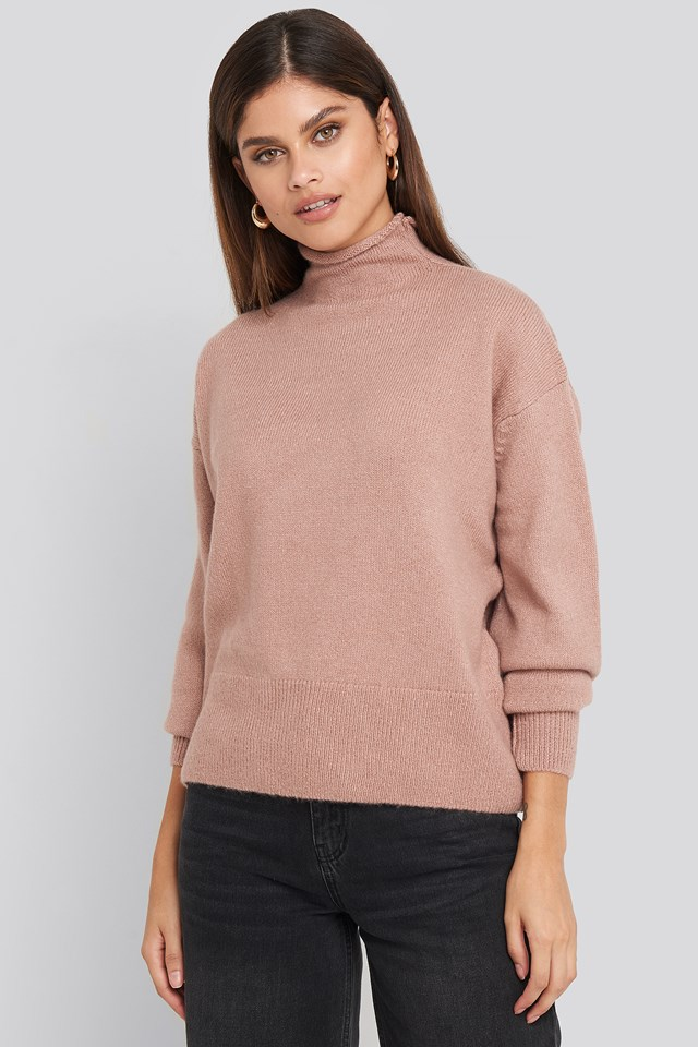 Dusty Pink Turtleneck Oversized Knitted Sweater