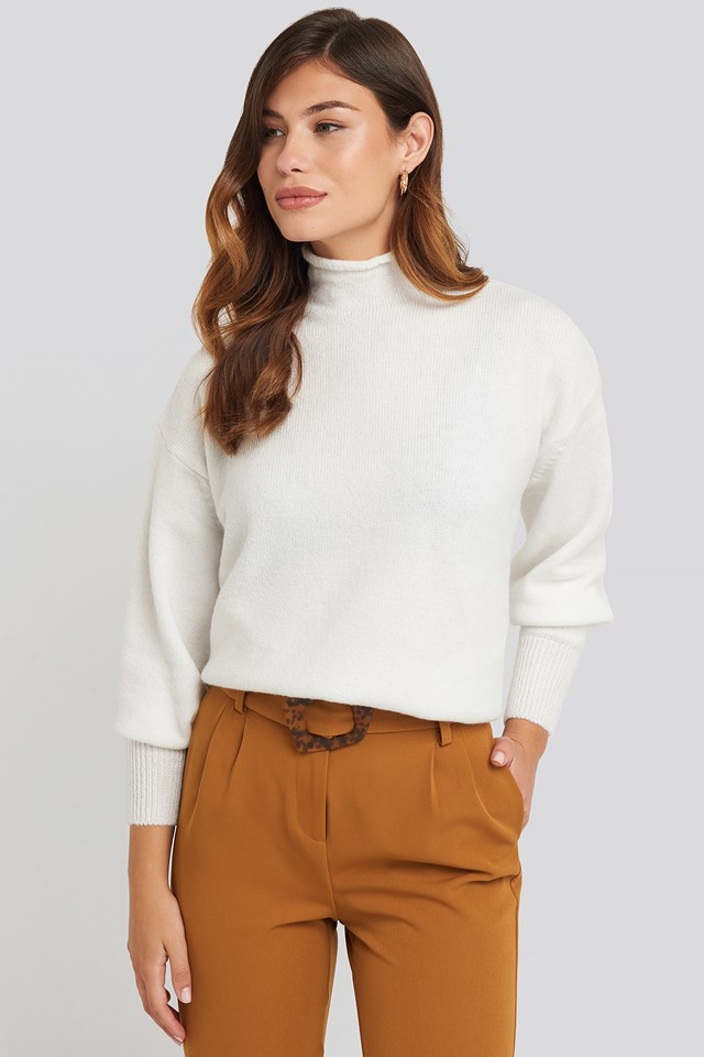 Turtleneck Oversized Knitted Sweater White