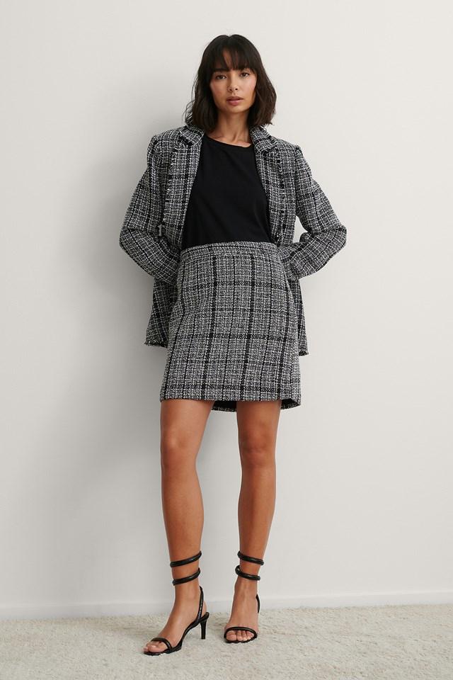 Black Check Tweed Mini Skirt