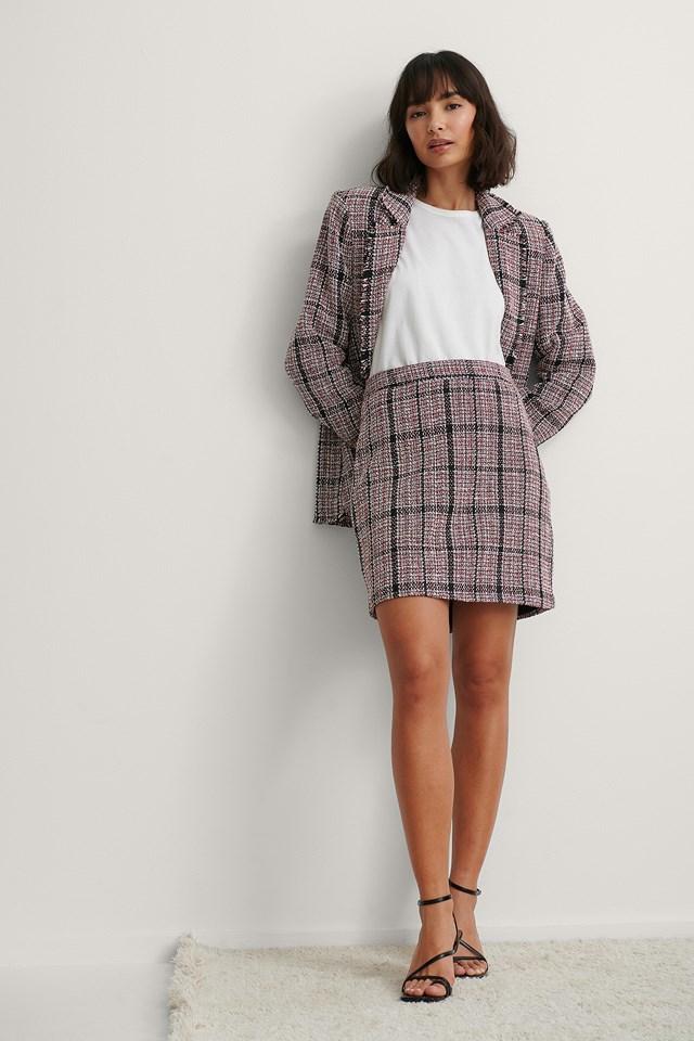 Red Check Tweed Mini Skirt