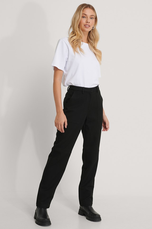 Black Twill Pocket Pants