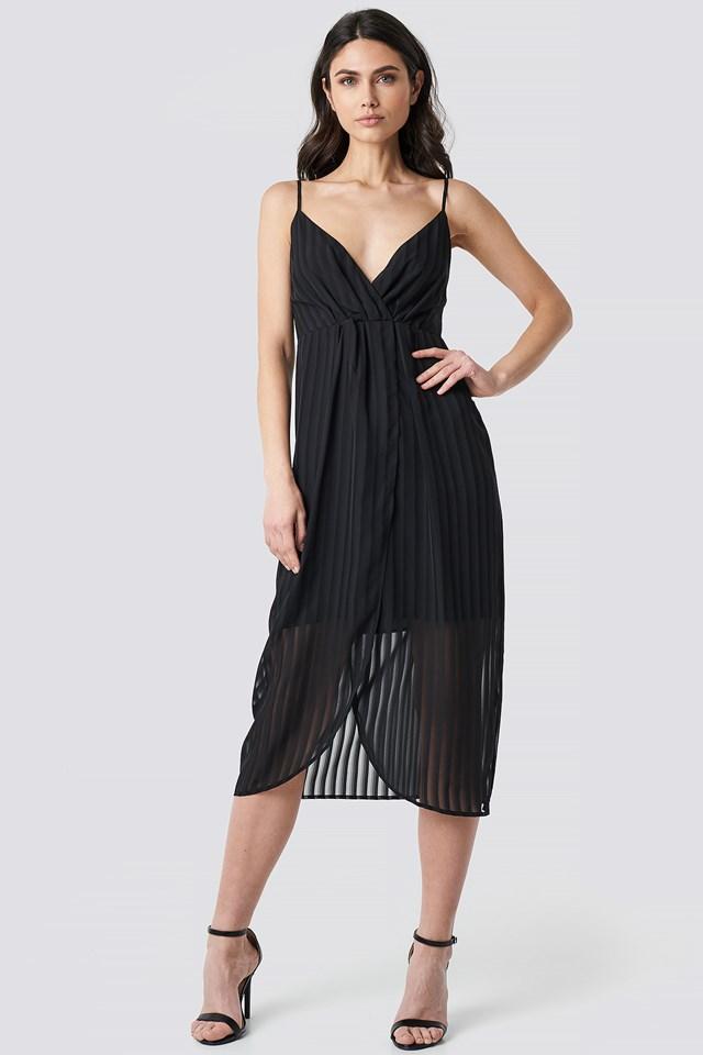 Black Twist Front Strap Dress