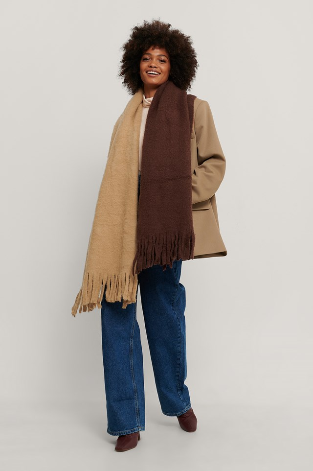 Two Toned Chunky Scarf Beige/Brown