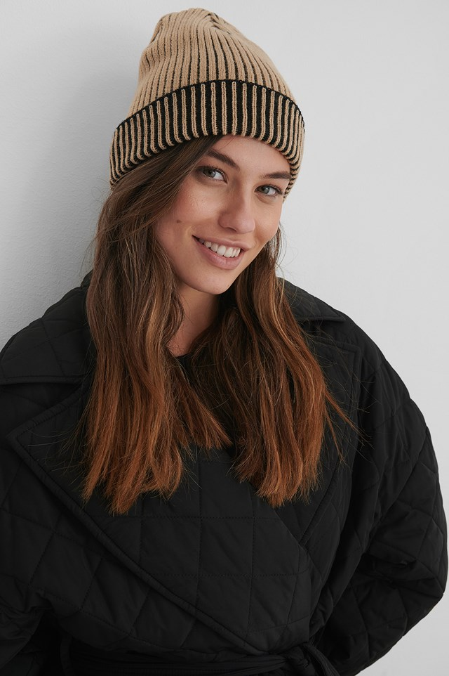 Two Toned Ribbed Beanie beige/Black