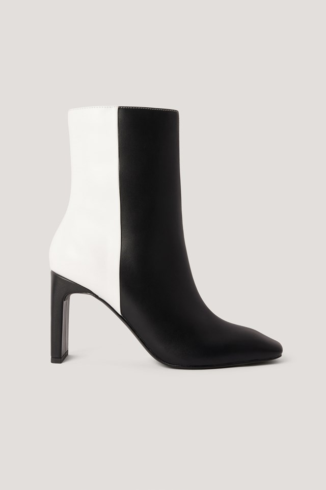 Two Toned Square Toe Boots Black/White
