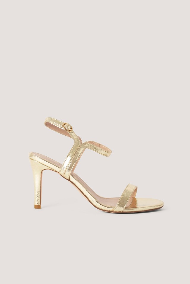 Two Way Ankle Strap Heels Gold