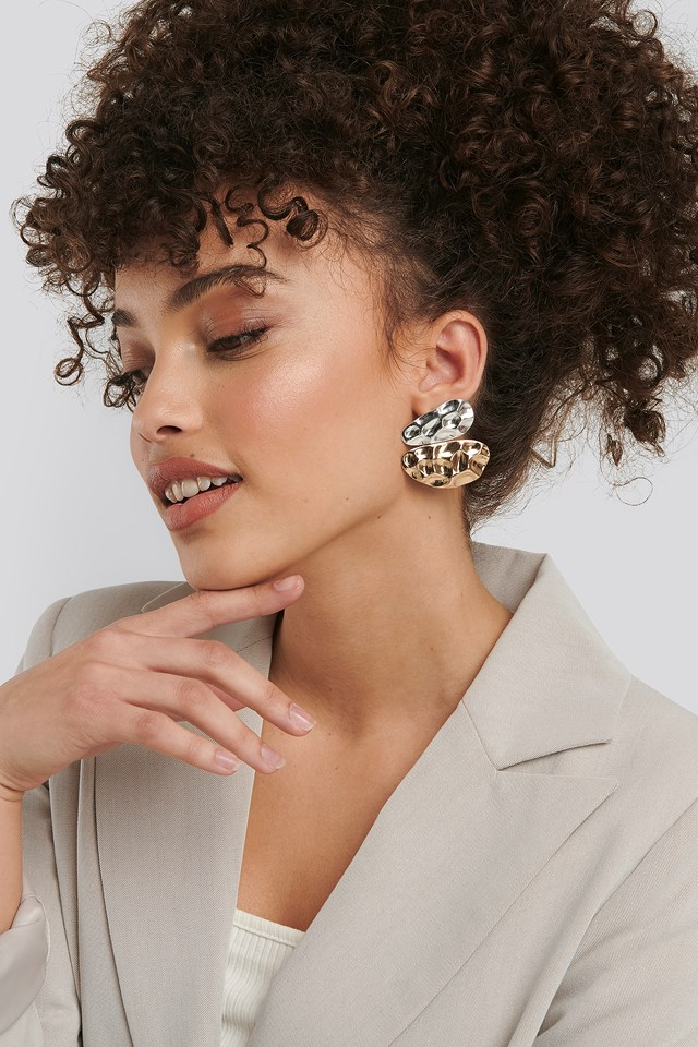 Gold Uneven Flat Earrings