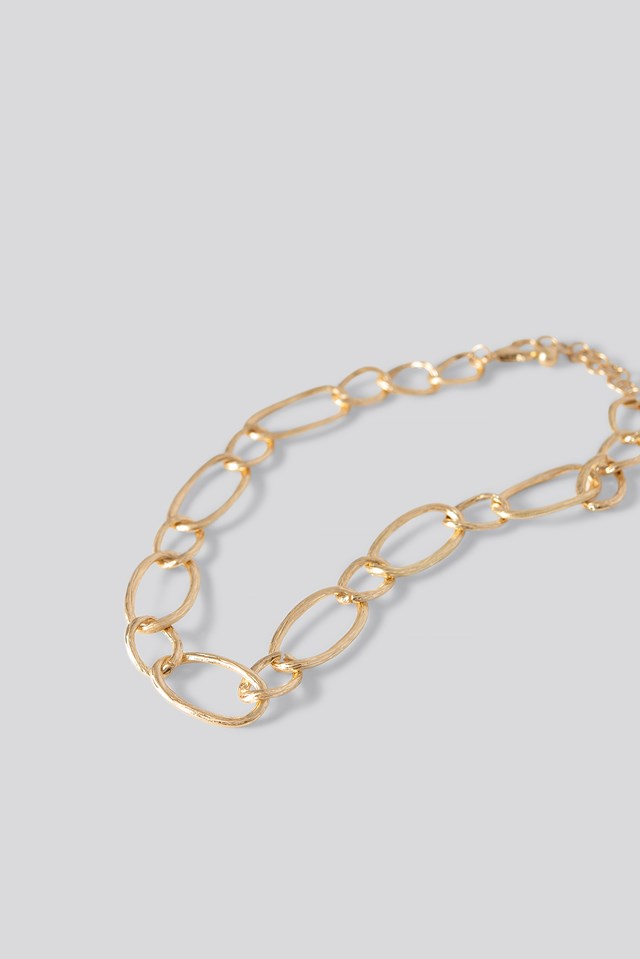 Uneven Loop Chain Necklace Gold
