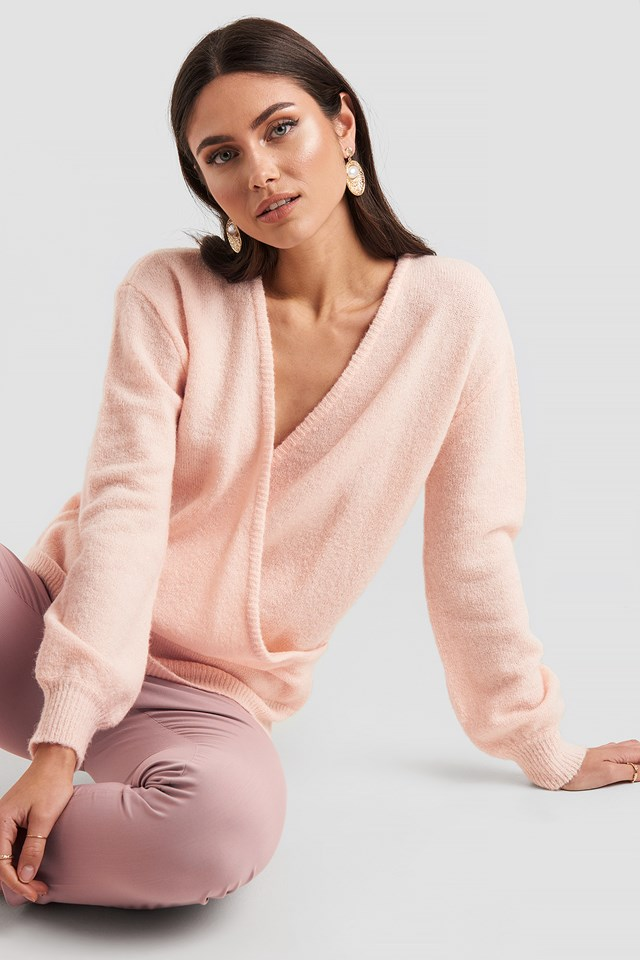 V-Neck Overlap Knitted Sweater Dusty Light Pink