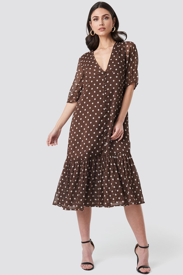 Brown Dots V-Neck Puff Sleeve Chiffon Dress
