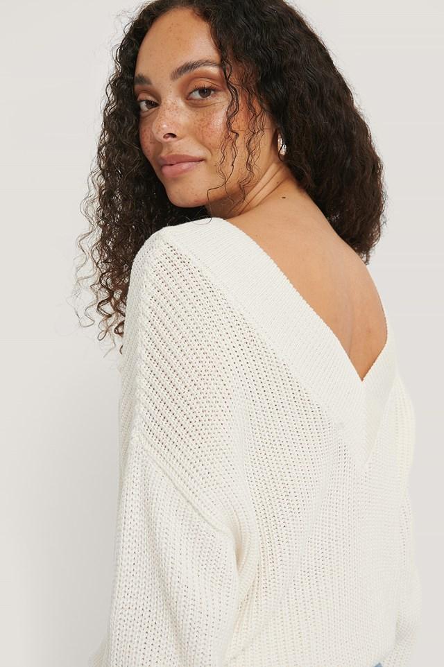 Organic V-neck Rib Knitted Sweater White