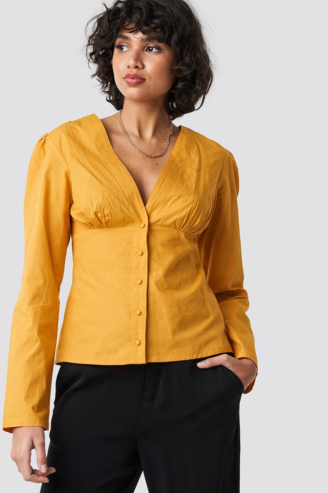V-Neck Buttoned Front LS Top Mustard Yellow