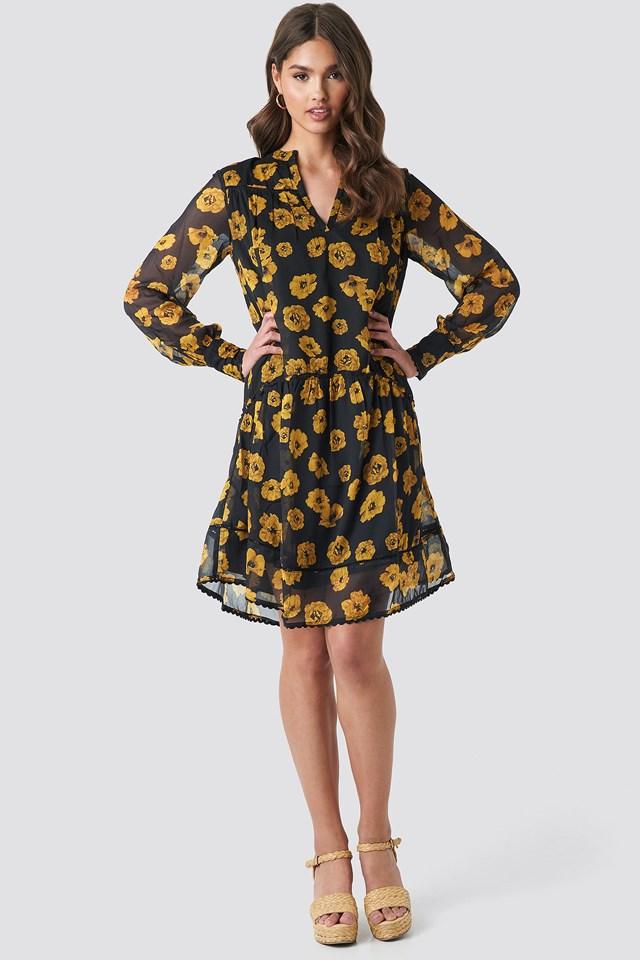 V-Neck Flowy Chiffon Dress Poppy Orange Flowers