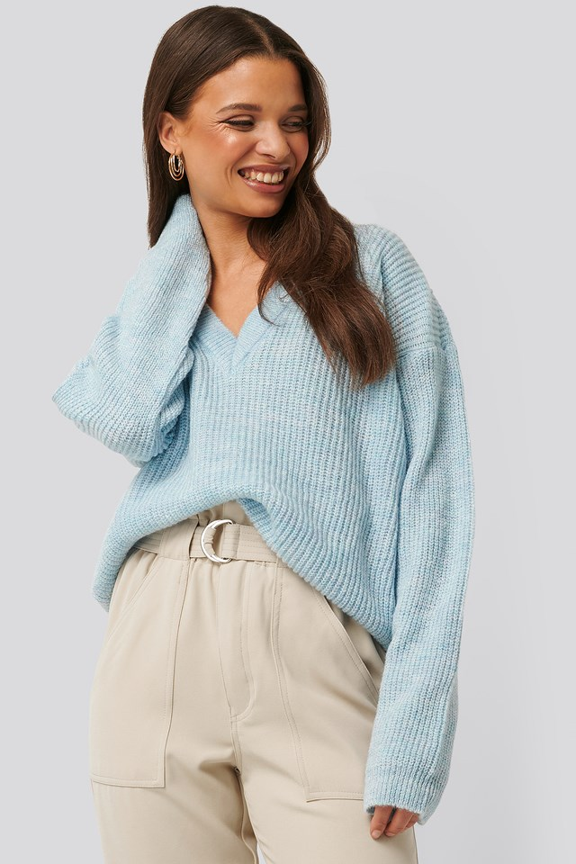 V-neck Knitted Sweater Blue