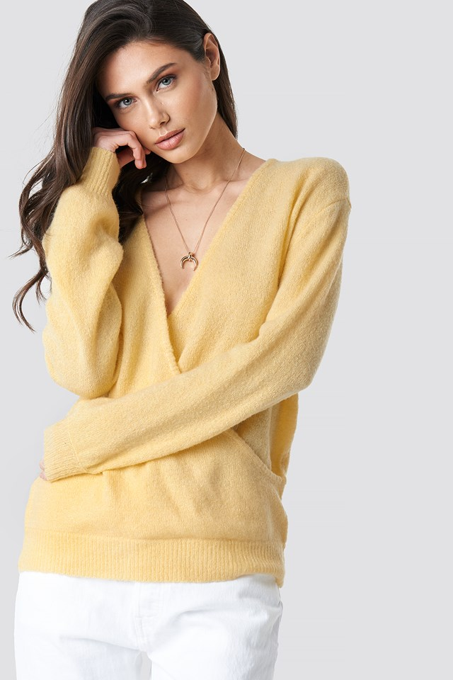 Light Yellow V-Neck Overlap Knitted Sweater