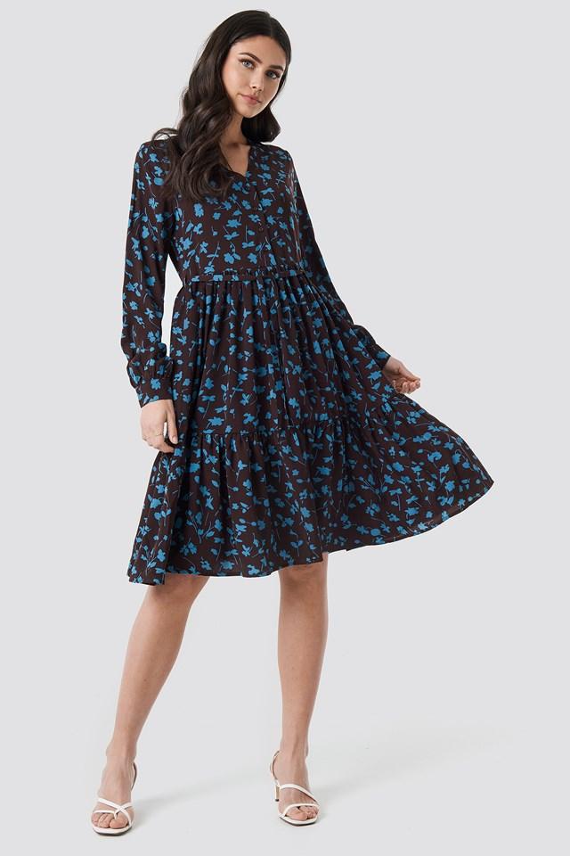 V-Neck Printed Ruffle Dress Dark Brown