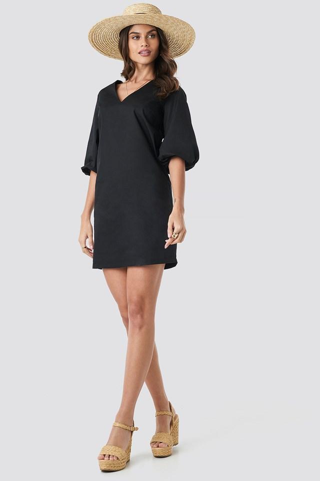 V-Neck Short Puff Sleeves Dress Black