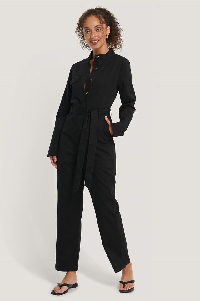 Cargo Jumpsuit Black