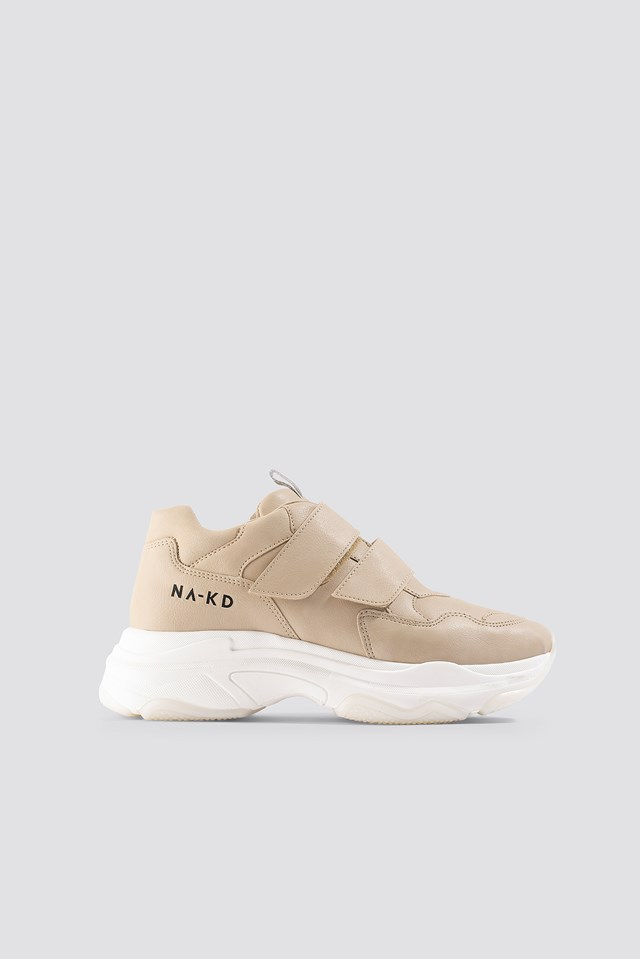 Velcro Chunky Trainers Beige