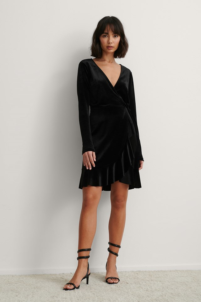 Black Velvet Wrap Frill Dress