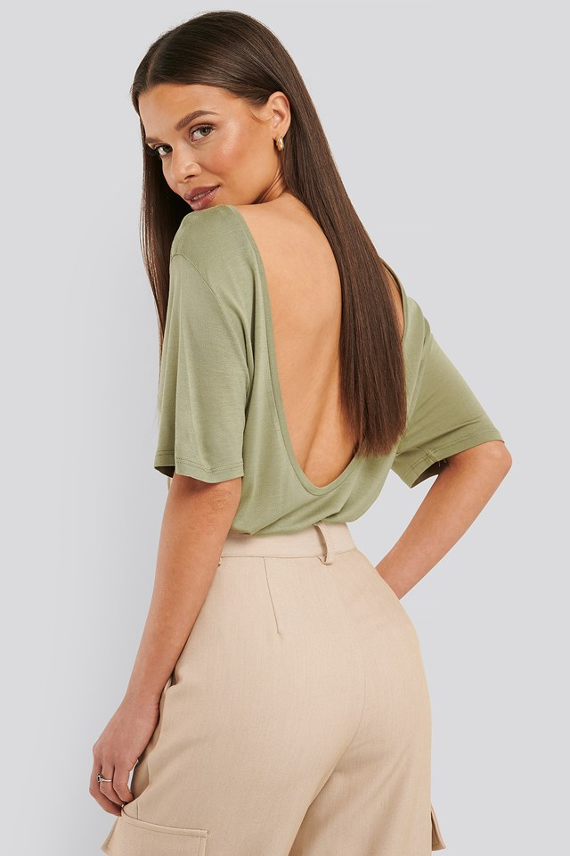 Viscose Deep Back Tee Khaki