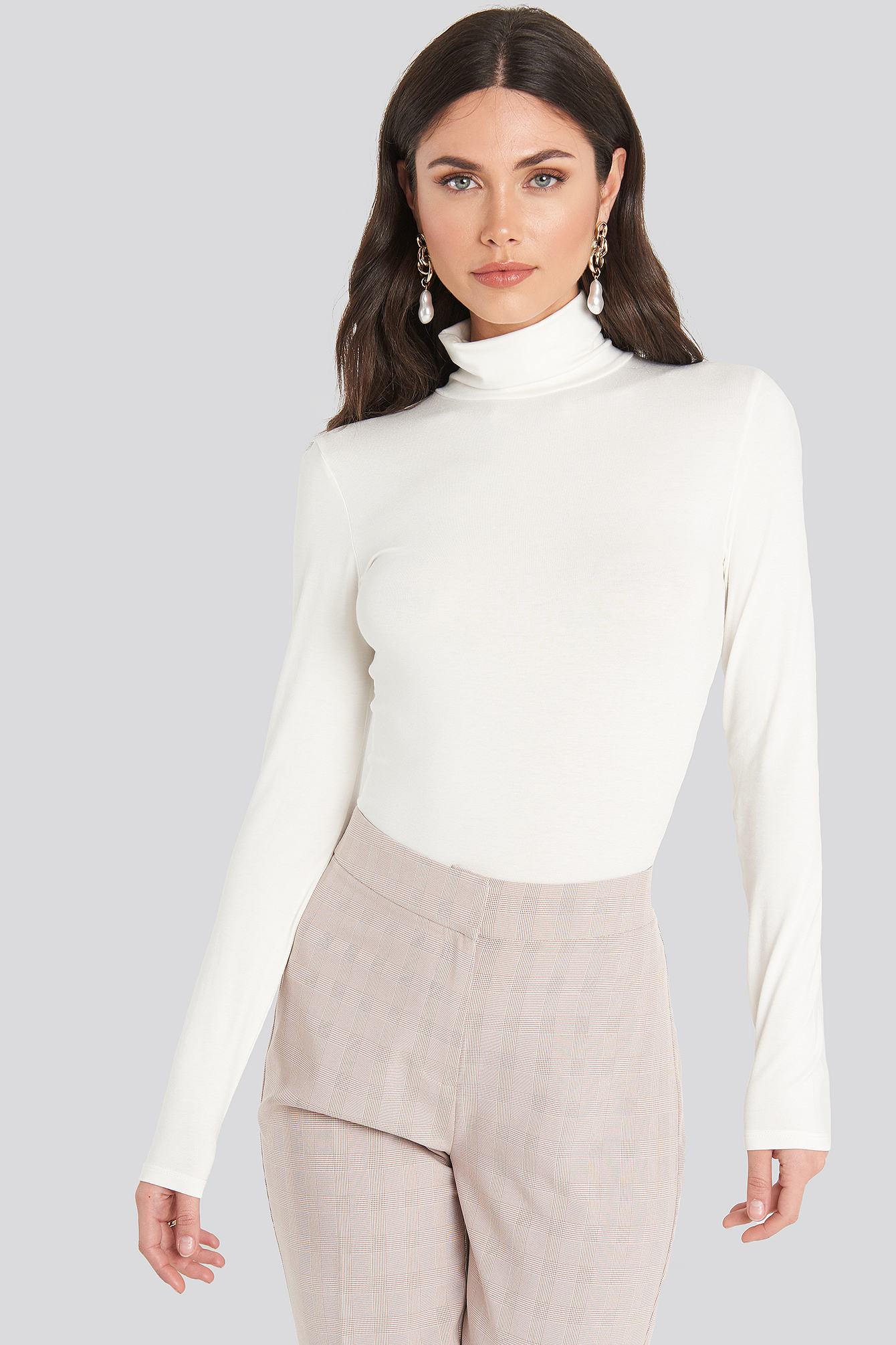 White Viscose Long Sleeve Polo Top