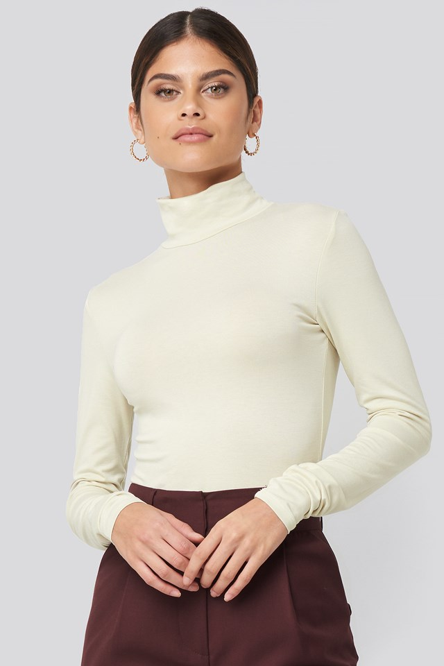 Viscose Long Sleeve Polo Top Dusty Light Beige