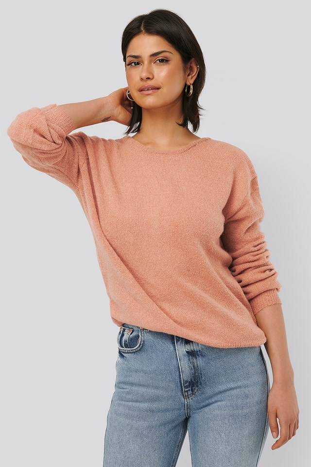 Dusty Pink V-Neck Back Overlap Knitted Sweater