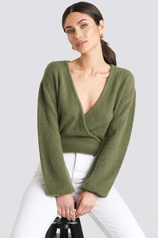V-Neck Overlap Knitted Sweater Khaki