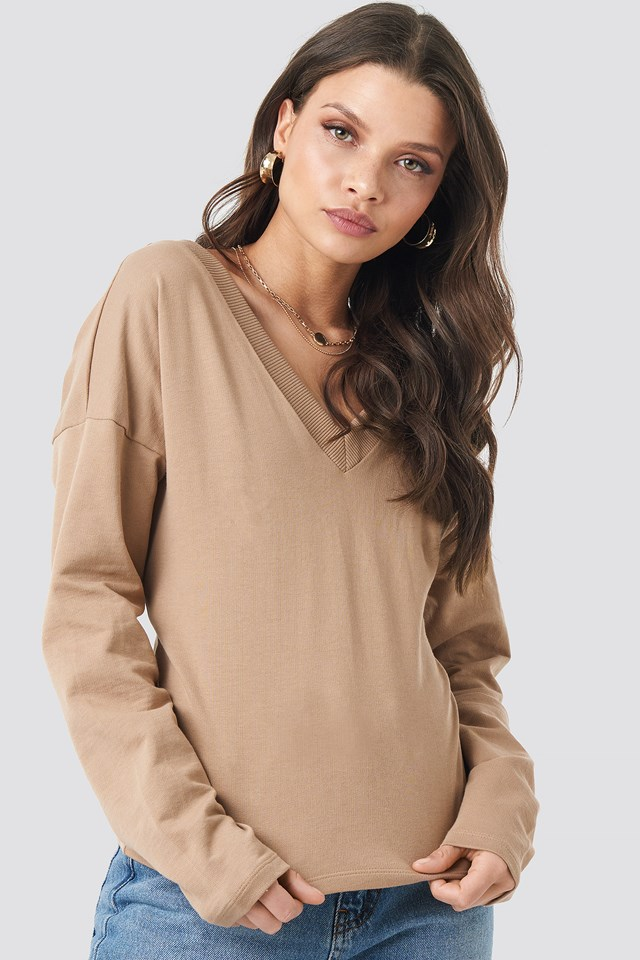 V-neck Short Sweater Mauve