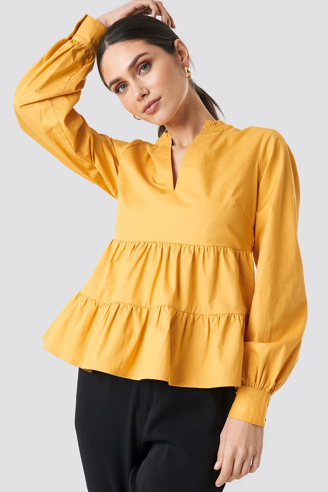 V-Neck Volume Sleeve Top Mustard Yellow
