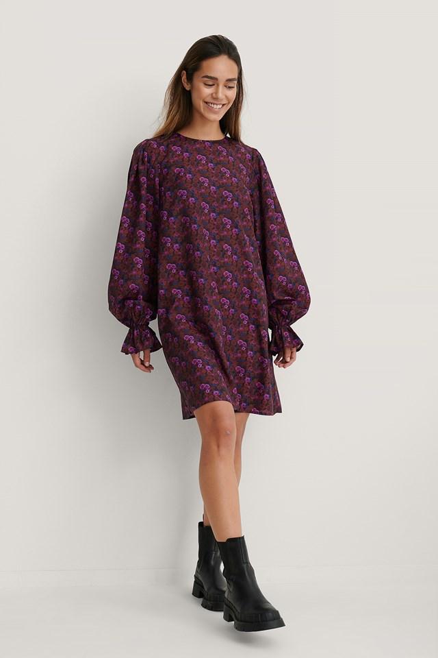Purple Flower Sukienka Z Szerokimi Rękawami