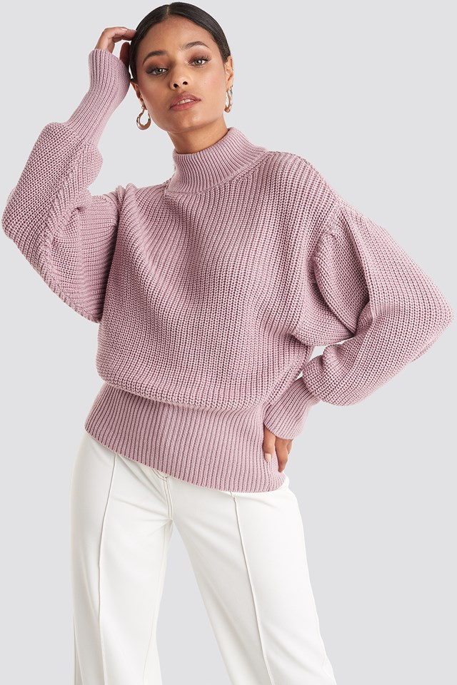 Volume Sleeve High Neck Knitted Sweater Dusty Pink