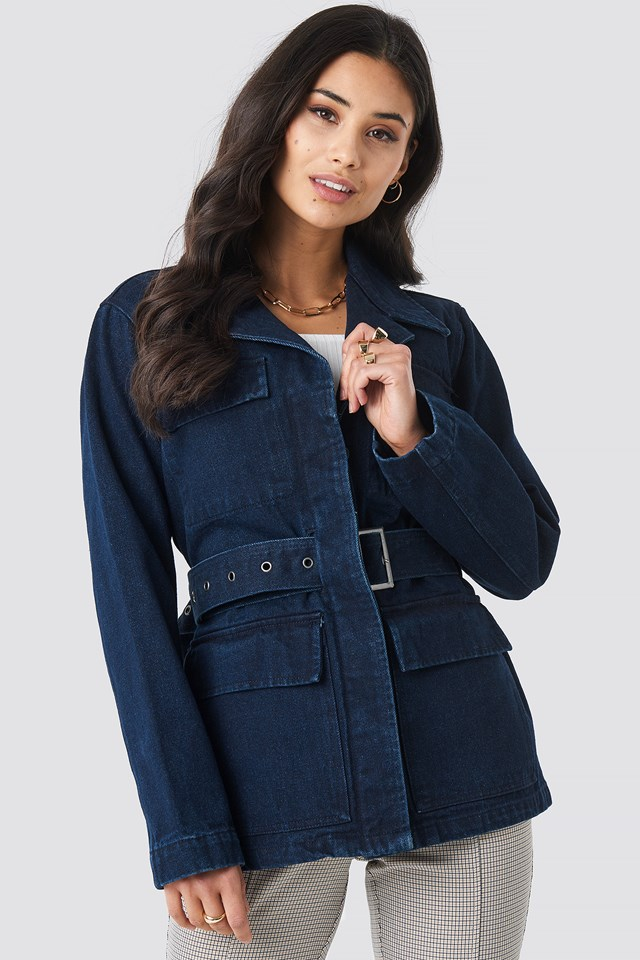 Waist Belted Denim Coat Dark Blue