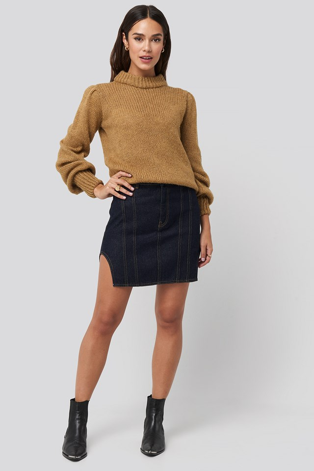 Waist Dart Detail Denim Mini Skirt Blue